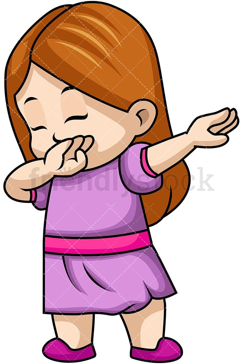 hight resolution of dabbing little girl vector cartoon clipart