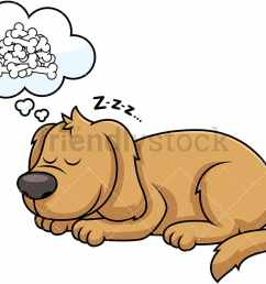 sleeping dog dreaming about bones vector cartoon clipart [ 1067 x 800 Pixel ]