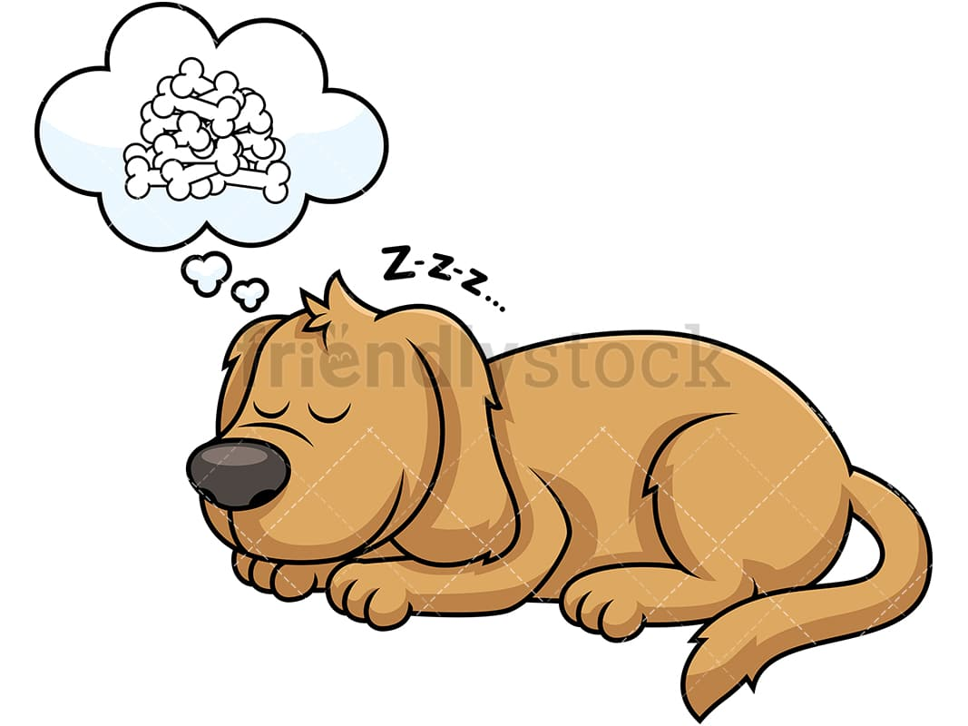 hight resolution of sleeping dog dreaming about bones vector cartoon clipart