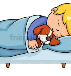 little boy sleeping in bed while hugging his pet dog vector cartoon clipart [ 1067 x 800 Pixel ]