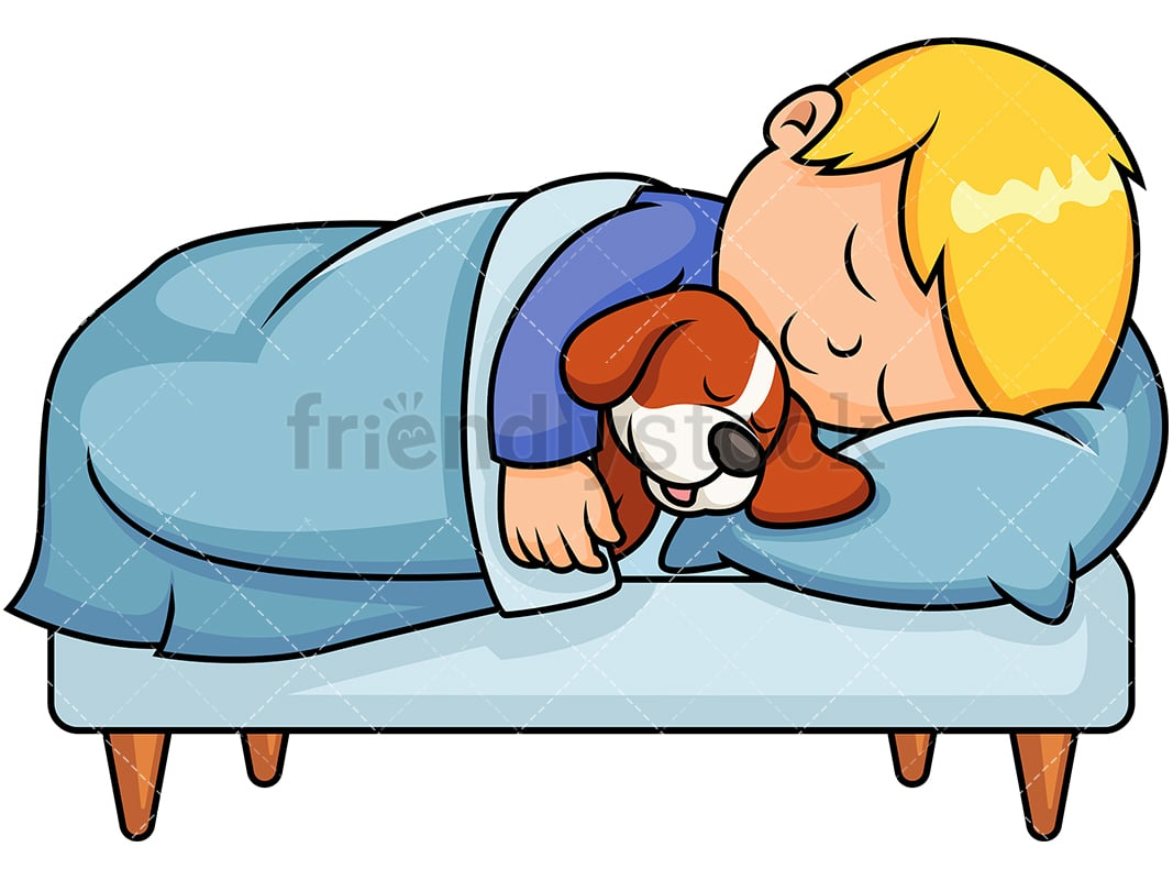 hight resolution of little boy sleeping in bed while hugging his pet dog vector cartoon clipart