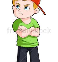 an upset young boy in a baseball cap with his arms crossed vector cartoon clipart [ 800 x 1200 Pixel ]