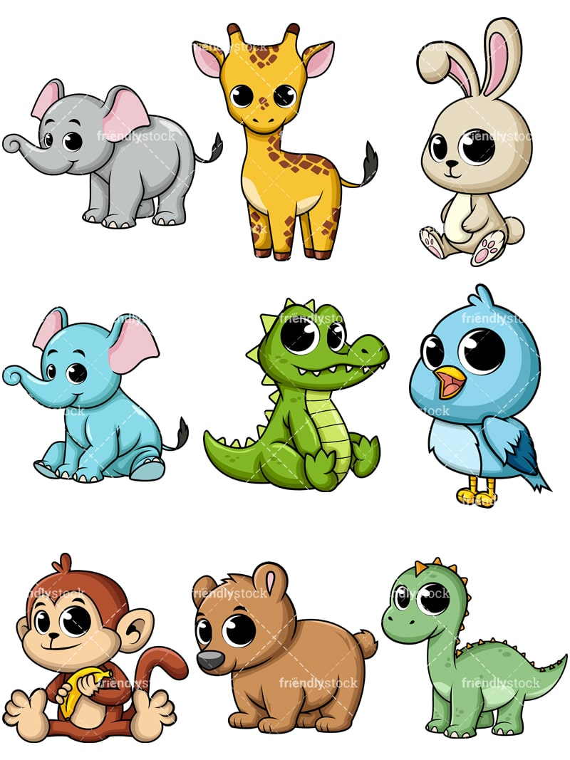 Baby Animals Cartoon Images : animals, cartoon, images, Cartoon, Animals, Vectors, FriendlyStock