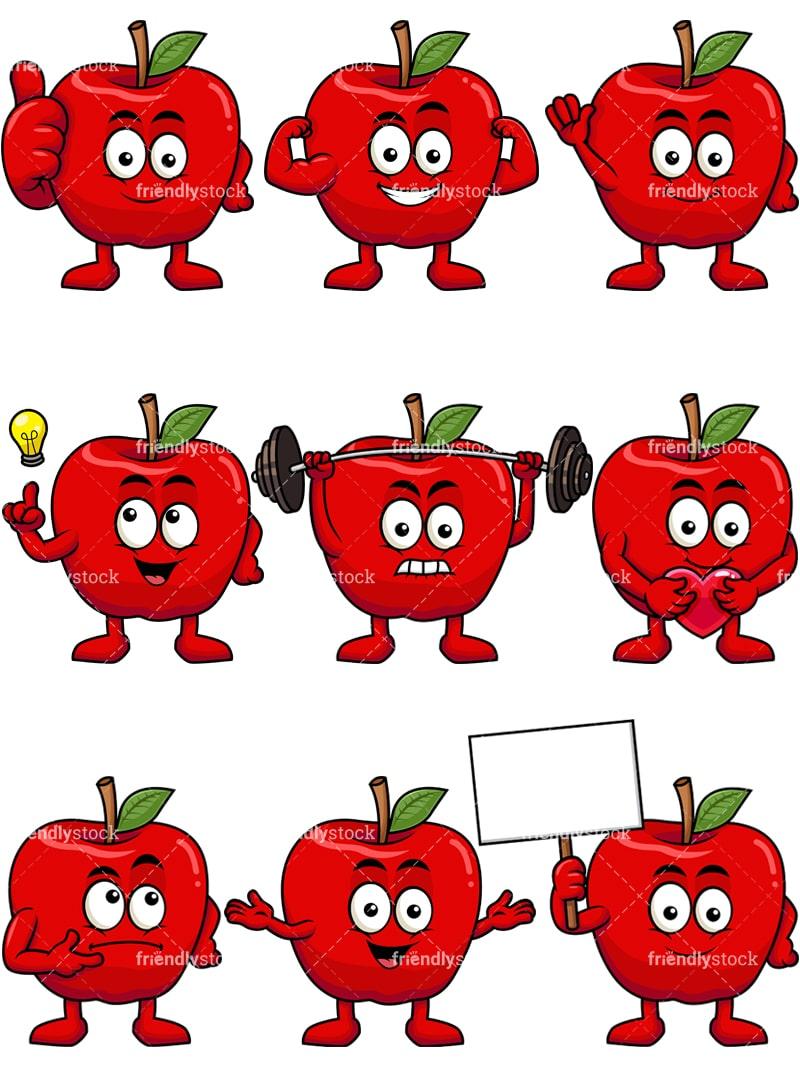 medium resolution of apple mascot collection vector cartoon clipart