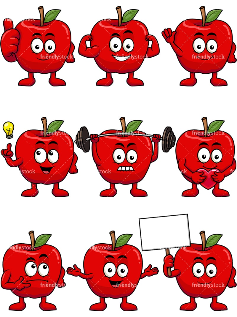 hight resolution of apple mascot collection vector cartoon clipart
