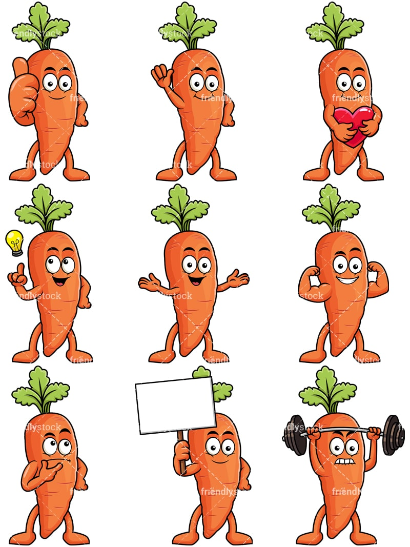 hight resolution of carrot mascot collection vector cartoon clipart