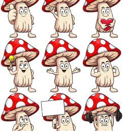 mushroom mascot collection vector cartoon clipart [ 800 x 1067 Pixel ]