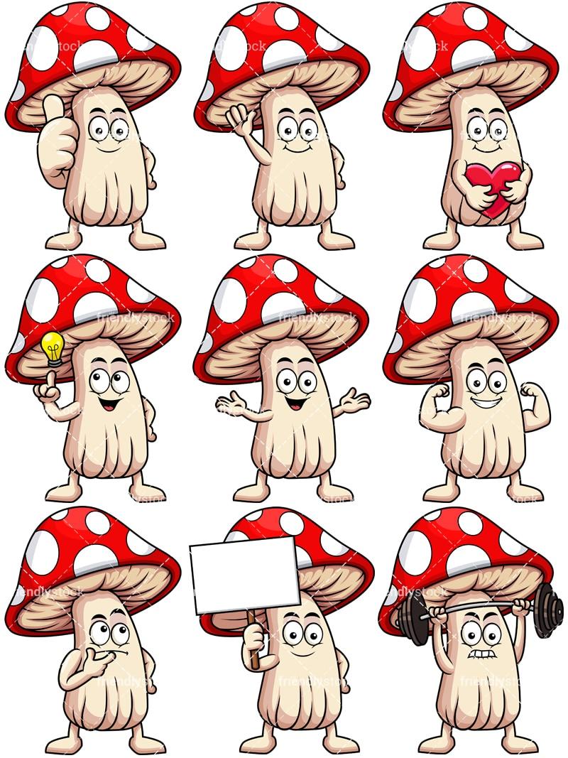 hight resolution of mushroom mascot collection vector cartoon clipart