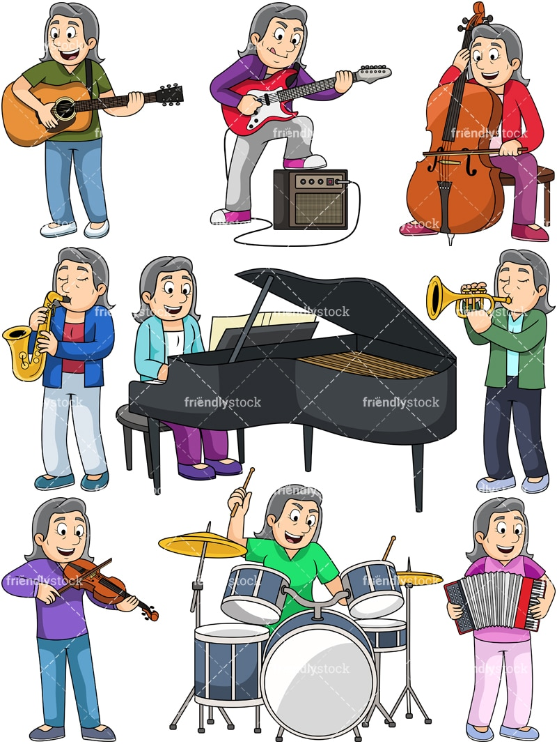 hight resolution of music collection margaret vector cartoon clipart