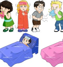 kids feeling sick collection vector cartoon clipart [ 1200 x 800 Pixel ]