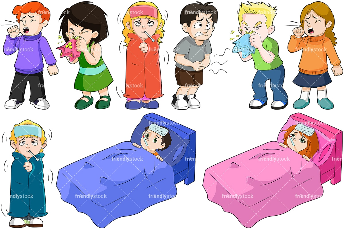 hight resolution of kids feeling sick collection vector cartoon clipart
