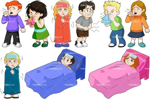 small resolution of kids feeling sick collection vector cartoon clipart