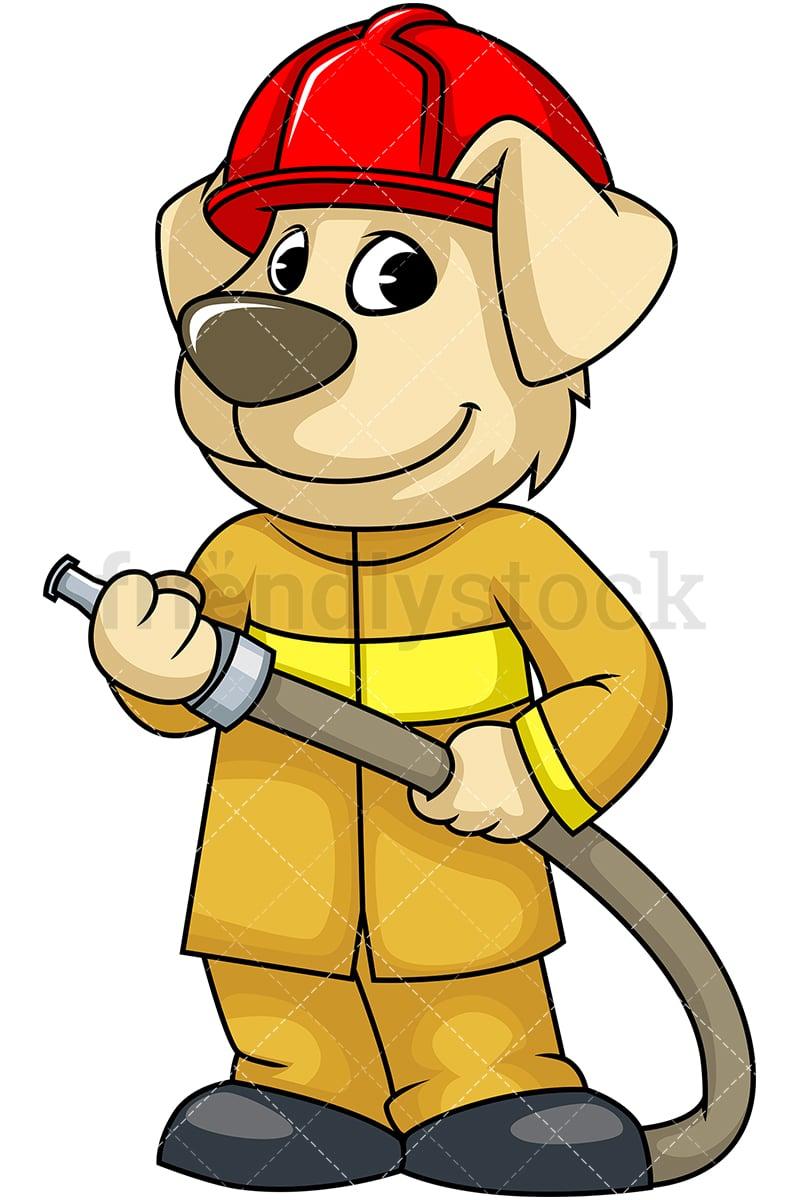 dog firefighter holding hose