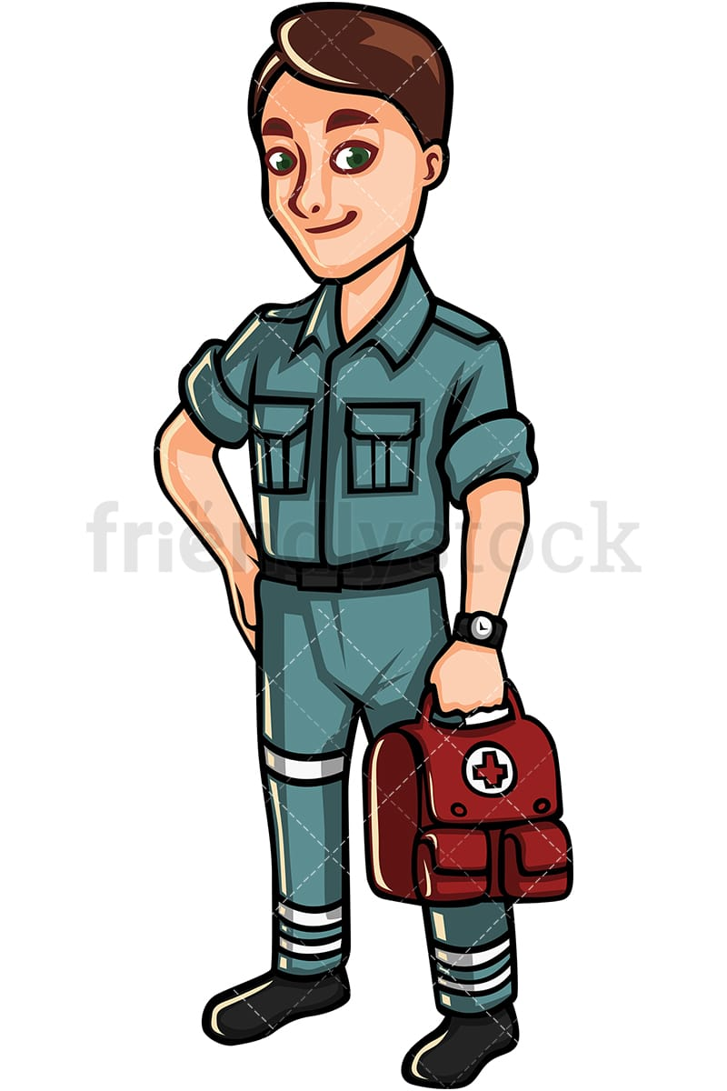 hight resolution of paramedic holding first aid kit vector cartoon clipart
