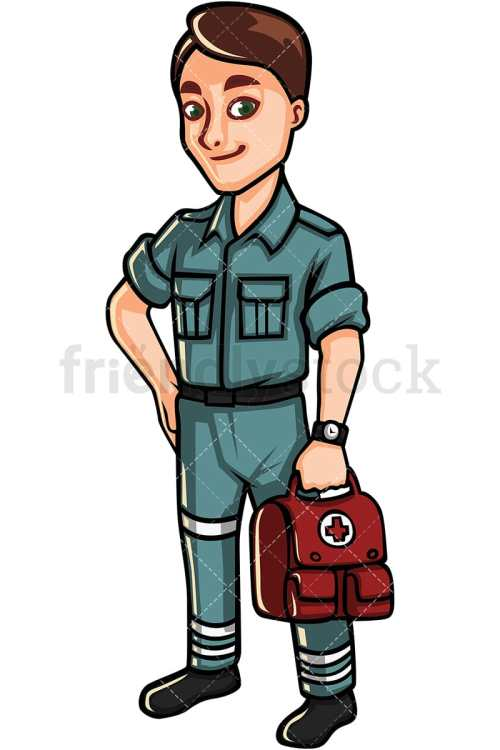 small resolution of paramedic holding first aid kit vector cartoon clipart