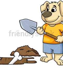 dog mascot character digging up bone vector cartoon clipart [ 1067 x 800 Pixel ]