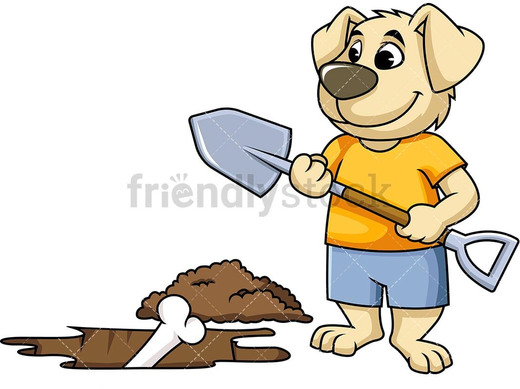 hight resolution of dog mascot character digging up bone vector cartoon clipart