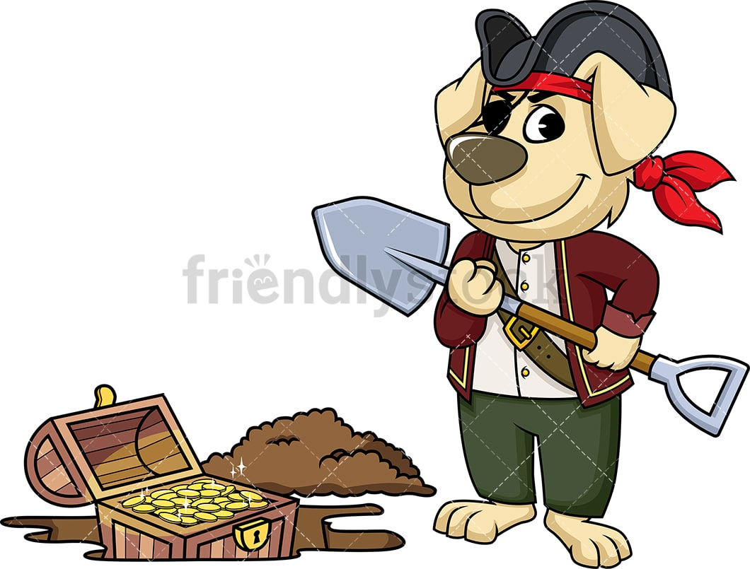 hight resolution of pirate dog digging up treasure vector cartoon clipart