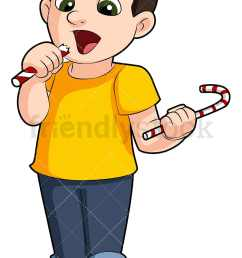 a young boy eating candy vector cartoon clipart [ 800 x 1200 Pixel ]