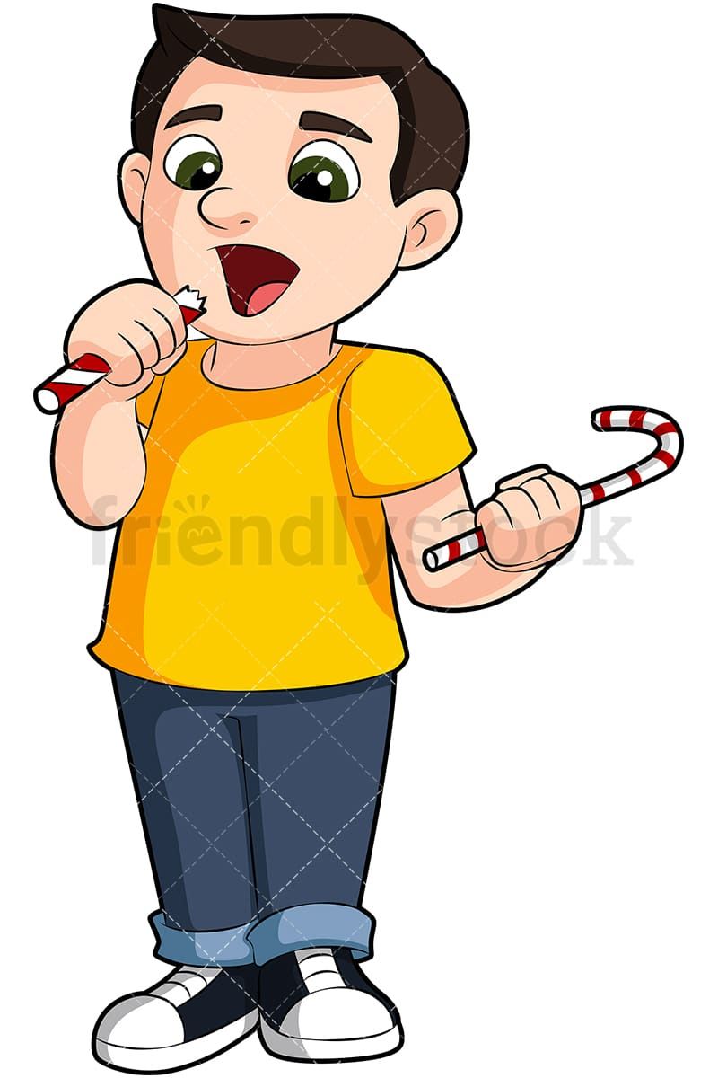 hight resolution of a young boy eating candy vector cartoon clipart