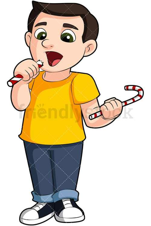small resolution of a young boy eating candy vector cartoon clipart