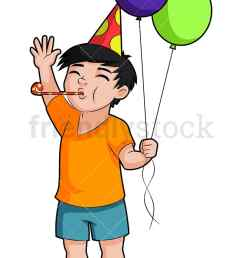 a birthday boy holding balloons and blowing a party horn vector cartoon clipart [ 800 x 1200 Pixel ]