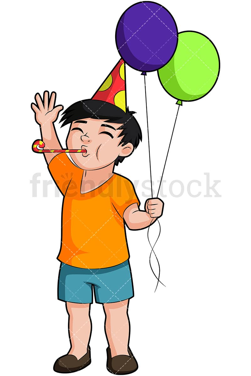 hight resolution of a birthday boy holding balloons and blowing a party horn vector cartoon clipart