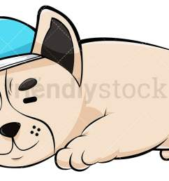 french bulldog sleeping with nightcap vector cartoon clipart [ 1200 x 675 Pixel ]