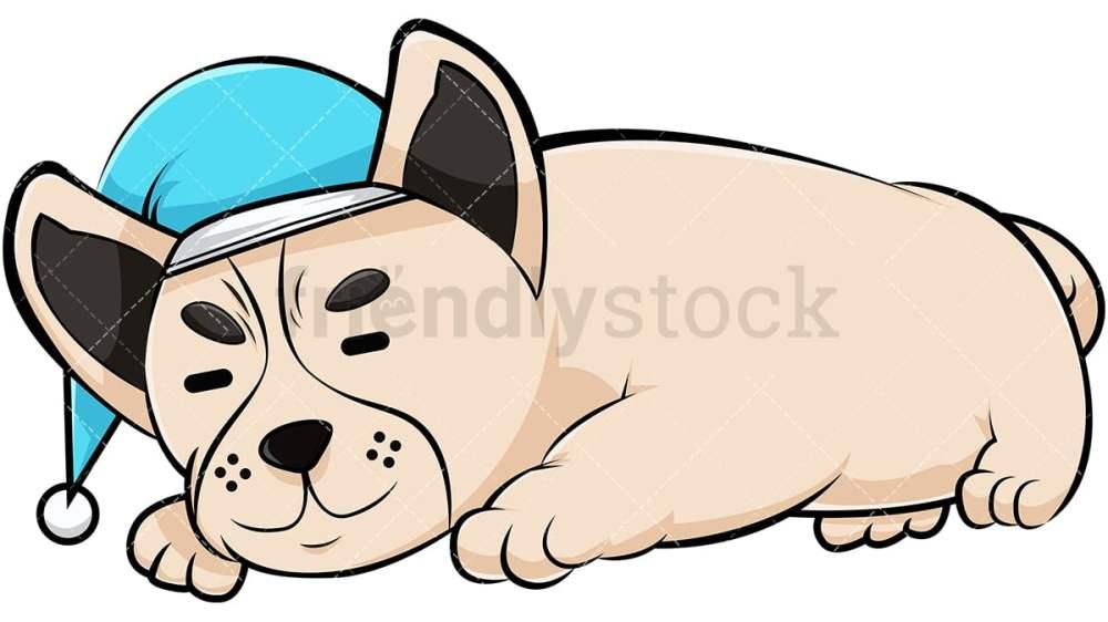 medium resolution of french bulldog sleeping with nightcap vector cartoon clipart