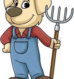 dog farmer holding digging fork vector cartoon clipart [ 800 x 1067 Pixel ]