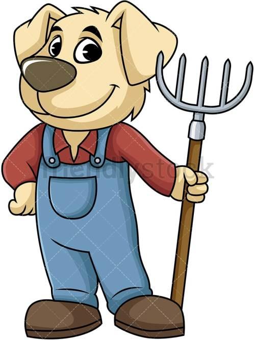 small resolution of dog farmer holding digging fork vector cartoon clipart