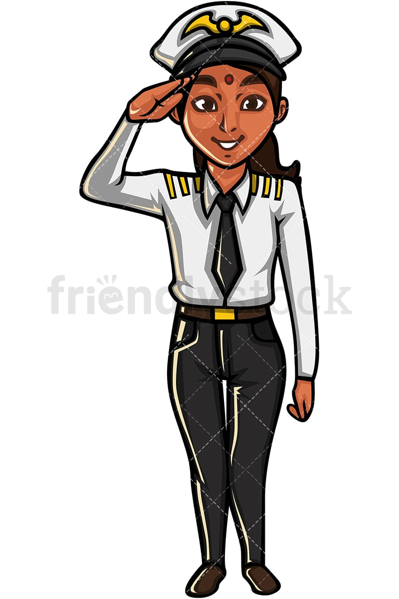 hight resolution of indian woman airline pilot vector cartoon clipart