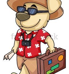dog mascot traveler going on vacation vector cartoon clipart [ 800 x 1067 Pixel ]