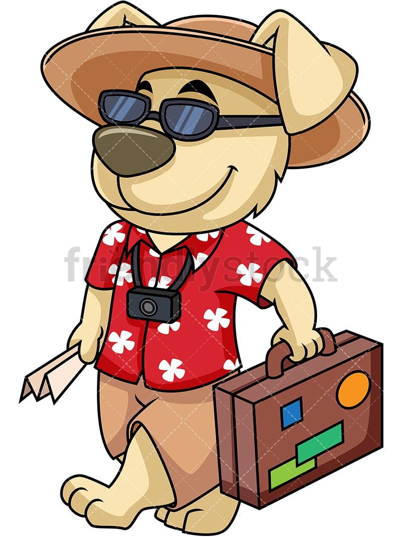 hight resolution of dog mascot traveler going on vacation vector cartoon clipart