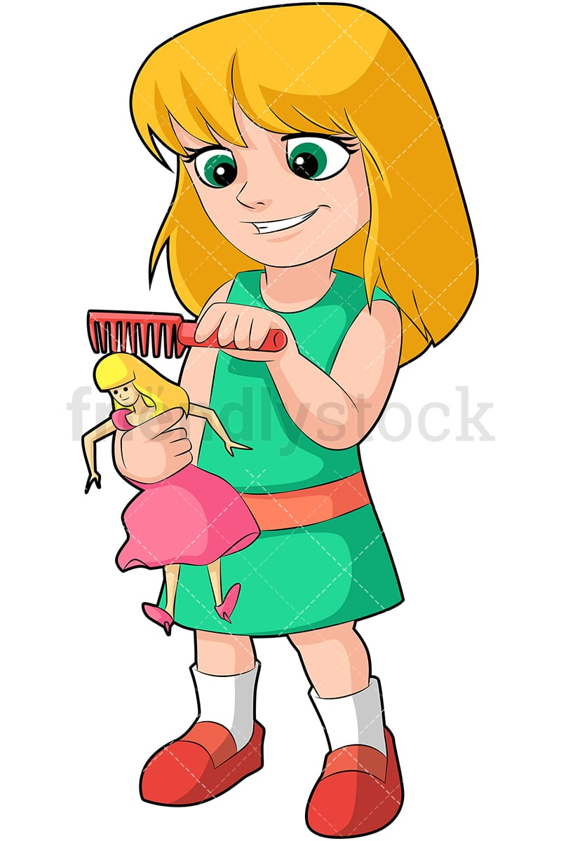 hight resolution of a little blonde girl combing her doll s hair while smiling vector cartoon clipart