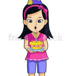 a little girl holding a birthday cake and wearing a party hat vector cartoon clipart [ 800 x 1200 Pixel ]