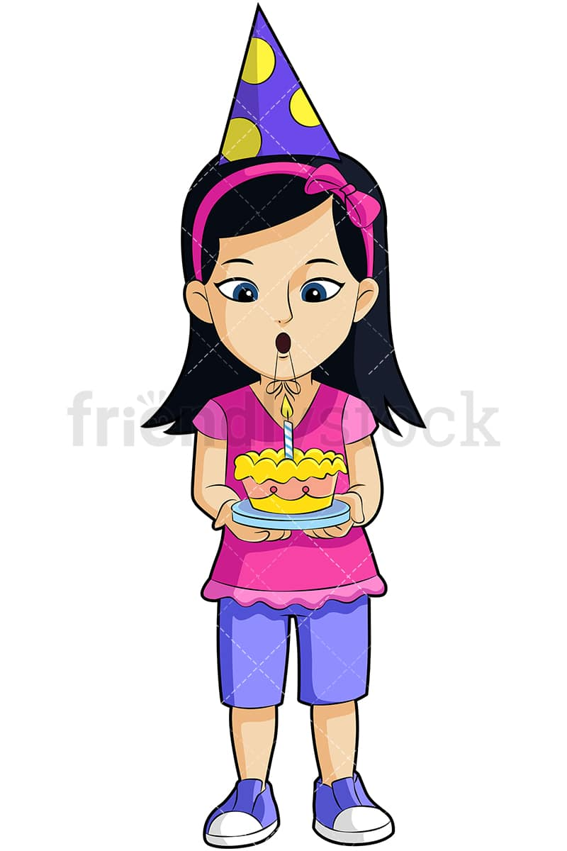 hight resolution of a little girl holding a birthday cake and wearing a party hat vector cartoon clipart