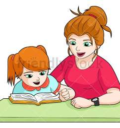 a green eyed mom and daughter doing homework together at a desk vector cartoon clipart [ 1067 x 800 Pixel ]