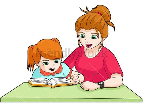 small resolution of a green eyed mom and daughter doing homework together at a desk vector cartoon clipart
