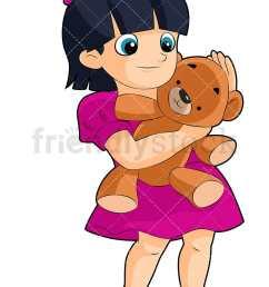 a little black haired girl hugging a teddy bear toy vector cartoon clipart [ 800 x 1200 Pixel ]