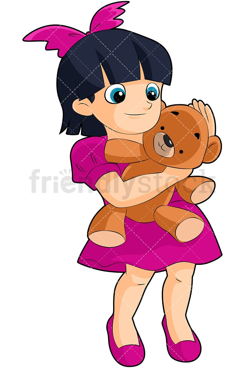 hight resolution of a little black haired girl hugging a teddy bear toy vector cartoon clipart