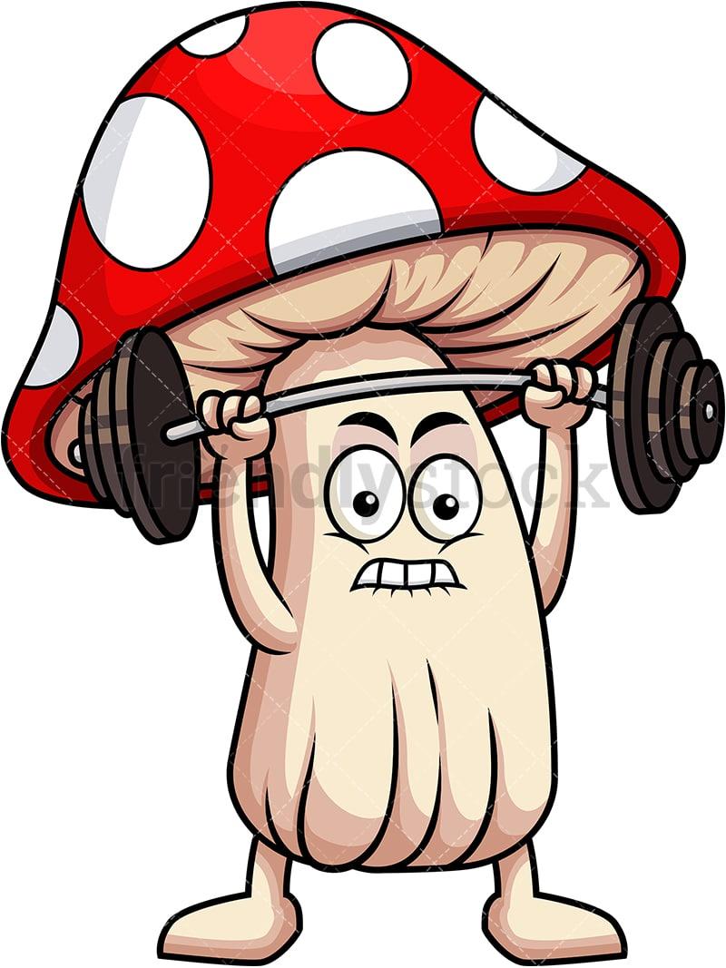 medium resolution of mushroom mascot lifting weights vector cartoon clipart