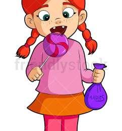 a little girl eating a lollipop vector cartoon clipart [ 800 x 1200 Pixel ]