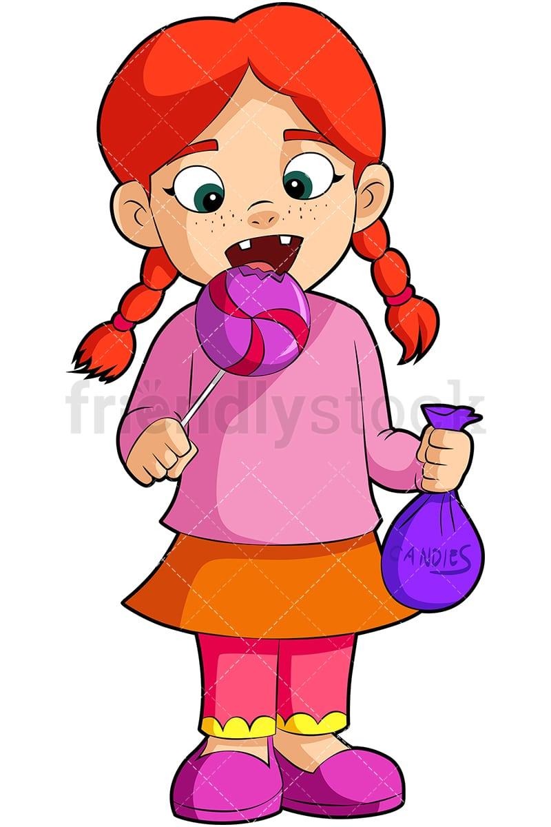 hight resolution of a little girl eating a lollipop vector cartoon clipart