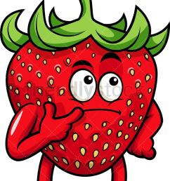 strawberry mascot thinking vector cartoon clipart [ 768 x 1064 Pixel ]