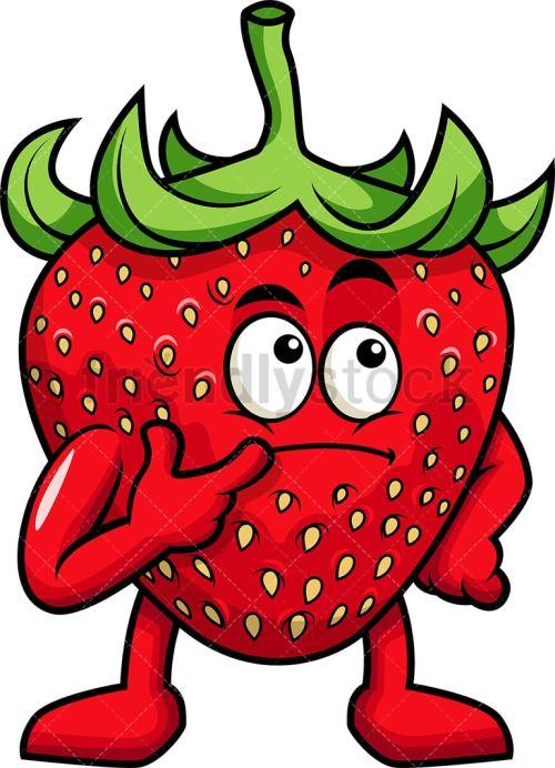 small resolution of strawberry mascot thinking vector cartoon clipart