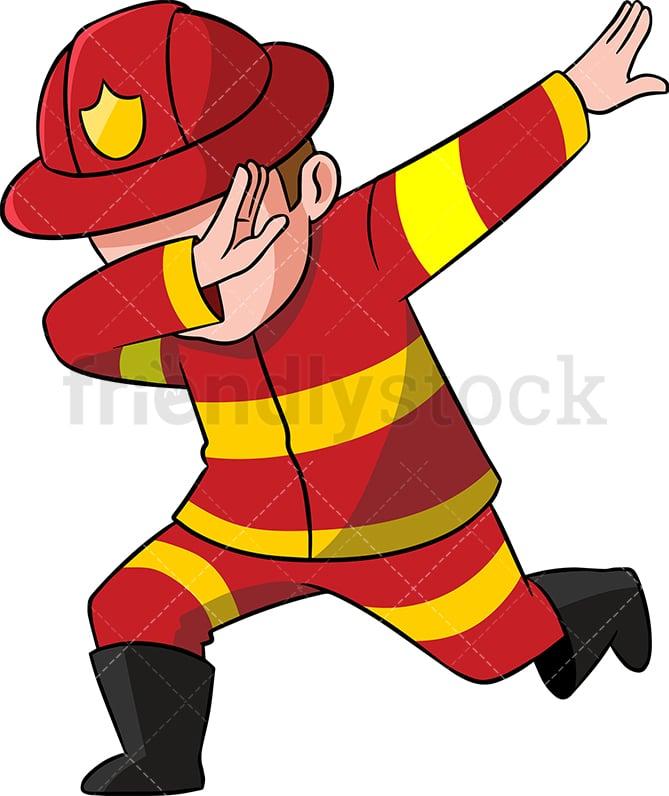 dabbing firefighter