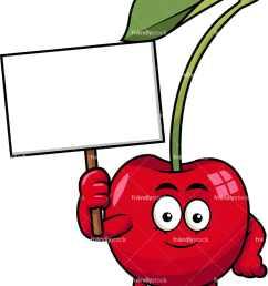 cherry mascot holding empty sign vector cartoon clipart [ 833 x 1064 Pixel ]