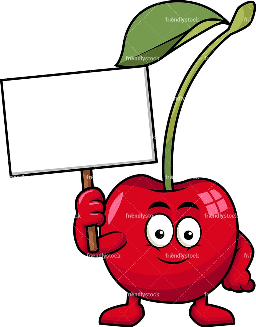 hight resolution of cherry mascot holding empty sign vector cartoon clipart