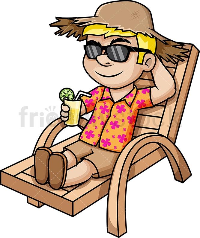 Man Enjoying Summer Vacation Cartoon Vector Clipart Friendlystock